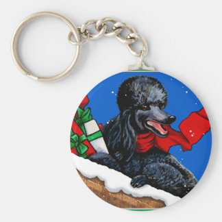 Black Poodle n Packages Christmas Holiday Art Keychain