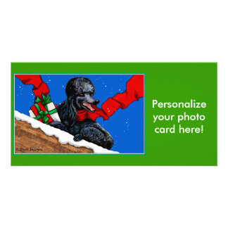 Black Poodle n Packages Christmas Holiday Art Photo Greeting Card