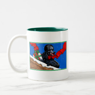Black Poodle n Packages Christmas Holiday Art Two-Tone Coffee Mug