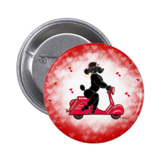Black Poodle on a  Red Hearts Pin