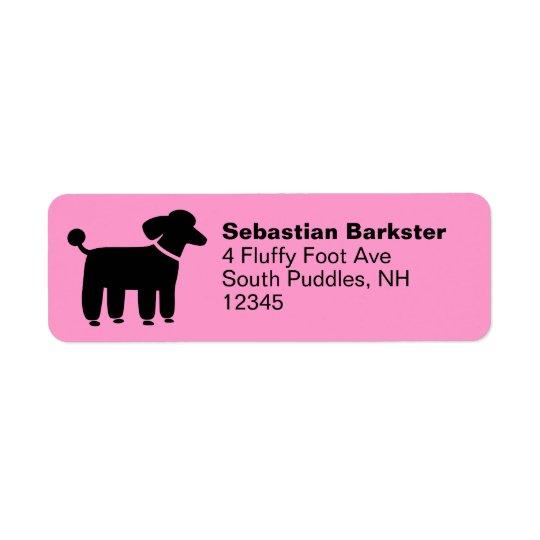 Black Poodle on Pink (Customizable) Label