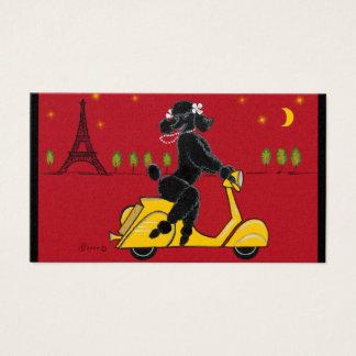 Black Poodle on Scooter Vespa Business Card