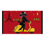 Black Poodle on Scooter Vespa Business Card Templates