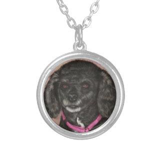 Black Poodle Painting Necklace