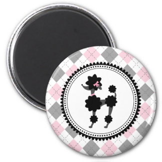 Black Poodle / Pink and Gray Argyle 2 Inch Round Magnet