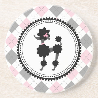 Black Poodle Pink and Gray Argyle Drink Coaster