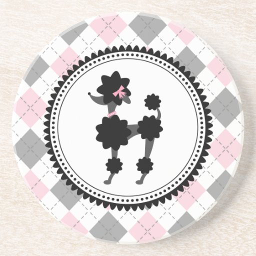 Black Poodle / Pink and Gray Argyle Drink Coaster