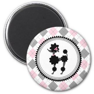 Black Poodle / Pink and Gray Argyle Magnet