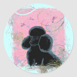 Black Poodle Portrait with Hummingbird. Stickers