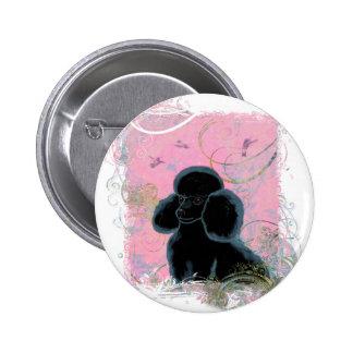 Black Poodle Portrait with Hummingbirds Button PIn