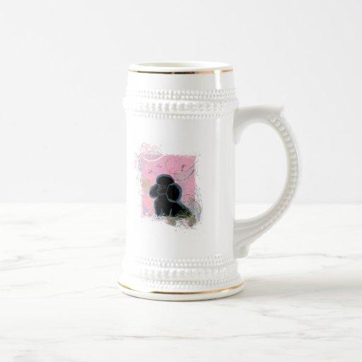 Black Poodle Portrait with Hummingbirds Stein Coffee Mug