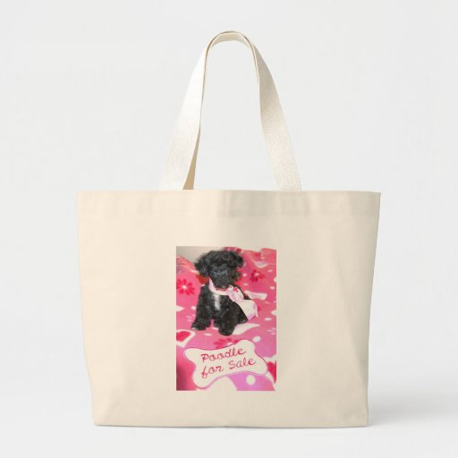 Black Poodle puppy for Sale Pink Canvas Bags
