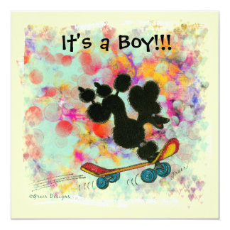"Black Poodle Scooter Baby Boy Announcement 5.25"" Square Invitation Card"