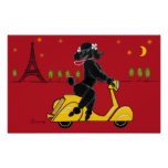 Black Poodle Scooter Poster Print