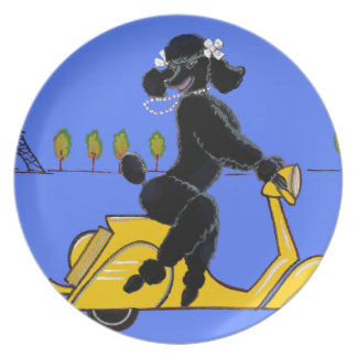 Black Poodle Scooter Retro Eiffel Tower Melamine Plate