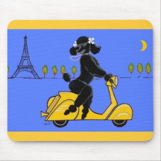 Black Poodle Scooter Retro Eiffel Tower Mouse Pad