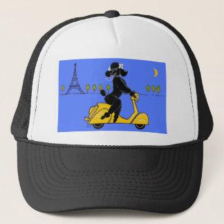 Black Poodle Scooter Retro Eiffel Tower Trucker Hat