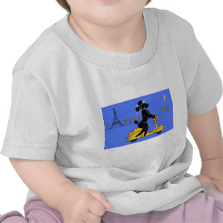 Black Poodle Scooter Retro Eiffel Tower T-shirts