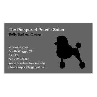 Black Poodle Silhouette (Standard, Fancy Haircut) Business Card
