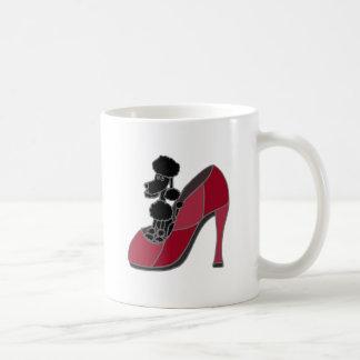 Black Poodle Sitting in a Pink High Heel Shoe Coffee Mug