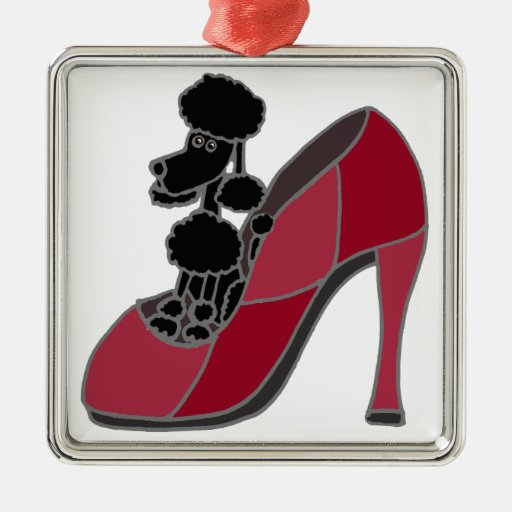 Black Poodle Sitting in a Pink High Heel Shoe Christmas Tree Ornament