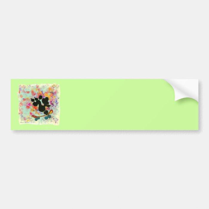 Black Poodle Skateboard Art Print Bumper Sticker