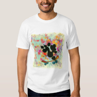 Black Poodle Skateboard Art Print T-shirt