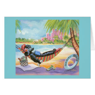 Black Poodle Vacation in Hawaii Card