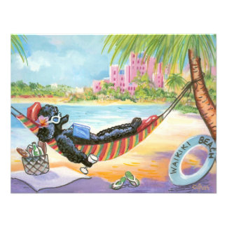 Black Poodle Vacation in Hawaii Custom Invitations