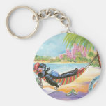 Black Poodle Vacation in Hawaii Keychain