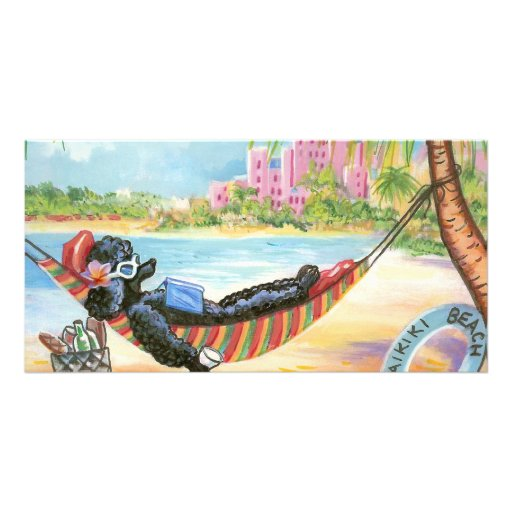 Black Poodle Vacation in Hawaii Photo Greeting Card