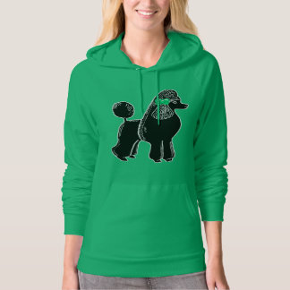 Black Poodle with a Bow Women's Fleece Hoodie