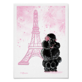 Black Poodle with Pink Eiffel Tower Poster