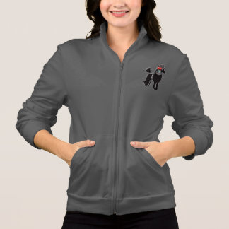 Black Poodle Women's Fleece Zip Jogger Jacket