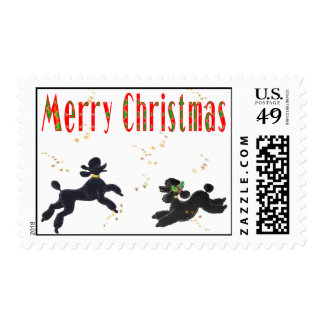 Black Poodles Fun Merry Christmas Postage Stamps