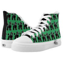 Black Poodles Pattern Emerald Green Shoes