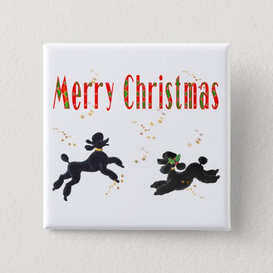 Black Poodles Playing Merry Christmas Art Button