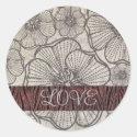 Black Poppy Love Stickers