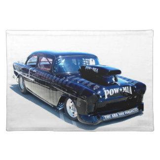Black POW Classic car American Mojo Cloth Placemat