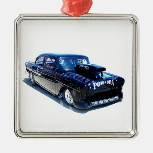 Black POW custom classic car Metal Ornament