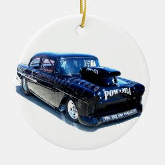 Black POW custom classic car Christmas Tree Ornament