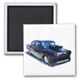 Black POW custom classic car square magnet