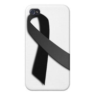 Black POW MIA Rememrance Awareness Ribbon Cover For iPhone 4