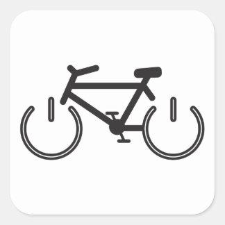 Black Power Bike with White Rims Square Sticker