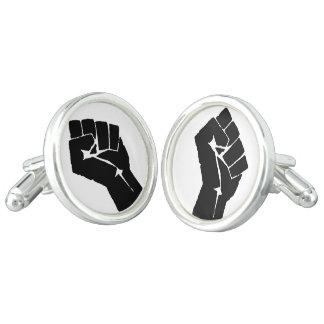 Black Power Fist Cufflinks, Silver Plated Cufflinks