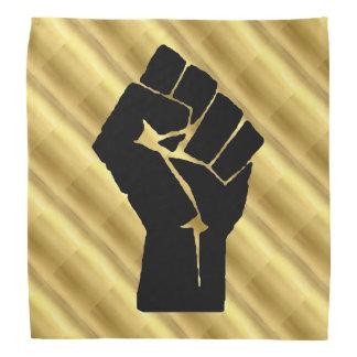 Black Power Fist & Gold Pattern Bandana