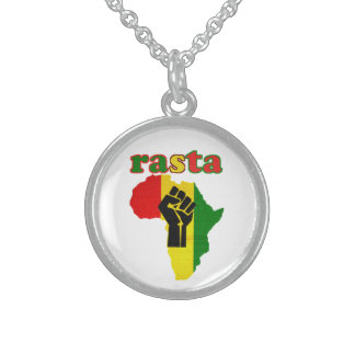 Black Power Fist over Africa Rasta Necklace