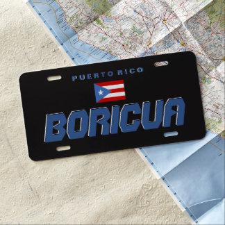 Black, PR Flag, Puerto Rico License Plate