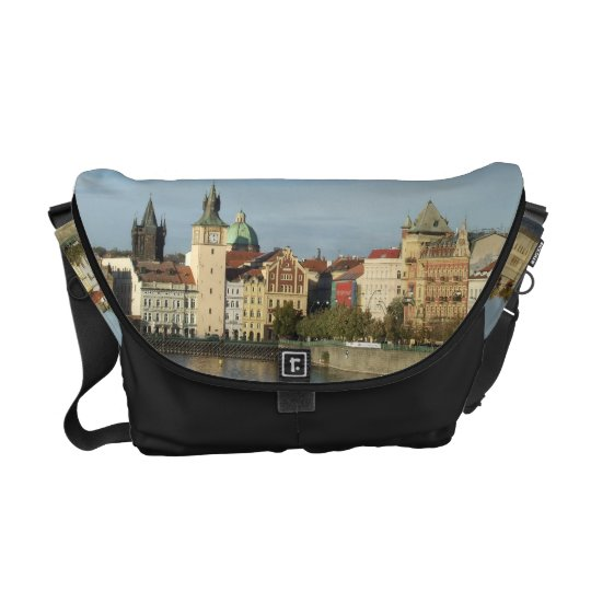Black Prague Vtlava River Messenger Bag Black Trim