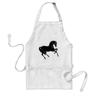 Black Prancing Horse Adult Apron